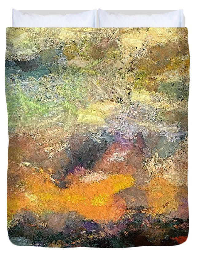Abstract Art Duvet Cover featuring the painting Abstract Landscape II by Dragica Micki Fortuna