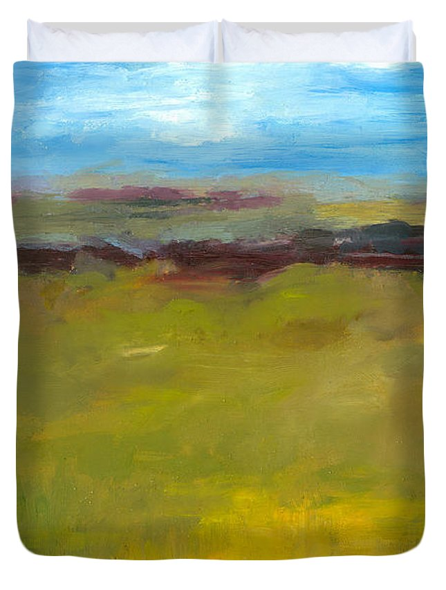 Abstract Expressionism Duvet Cover featuring the painting Abstract Landscape - The Highway Series by Michelle Calkins