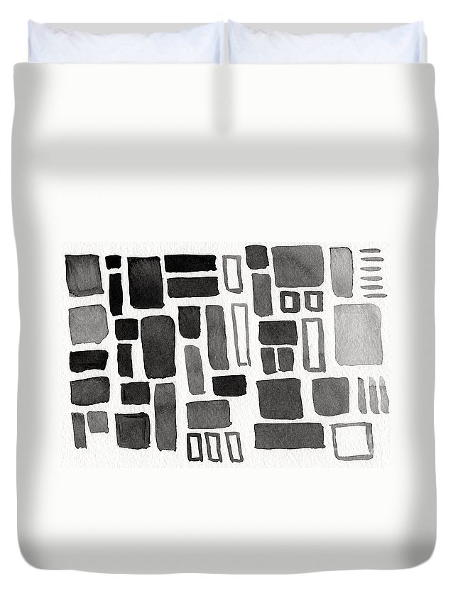 Squares Duvet Cover featuring the painting Abstract Open Windows by Linda Woods