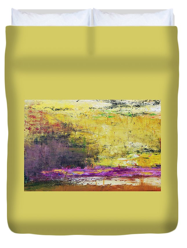 Oil Painting Duvet Cover featuring the photograph Abstract Painted Yellow Art Backgrounds by Ekely