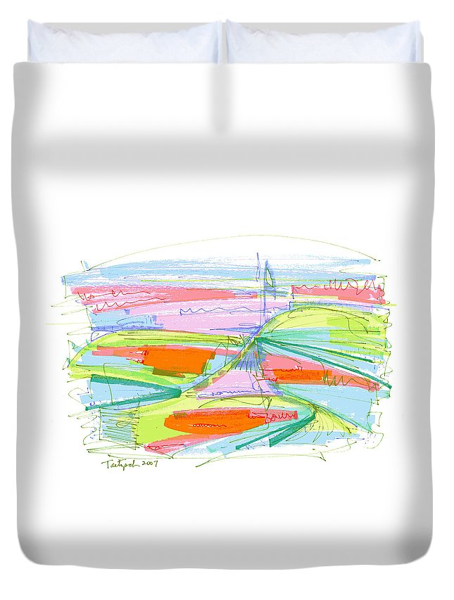 Abstract Duvet Cover featuring the drawing Abstract Pen Drawing Forty-three by Lynne Taetzsch