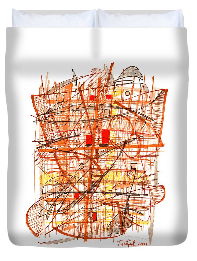 Abstract Duvet Cover featuring the drawing Abstract Pen Drawing Sixty-one by Lynne Taetzsch