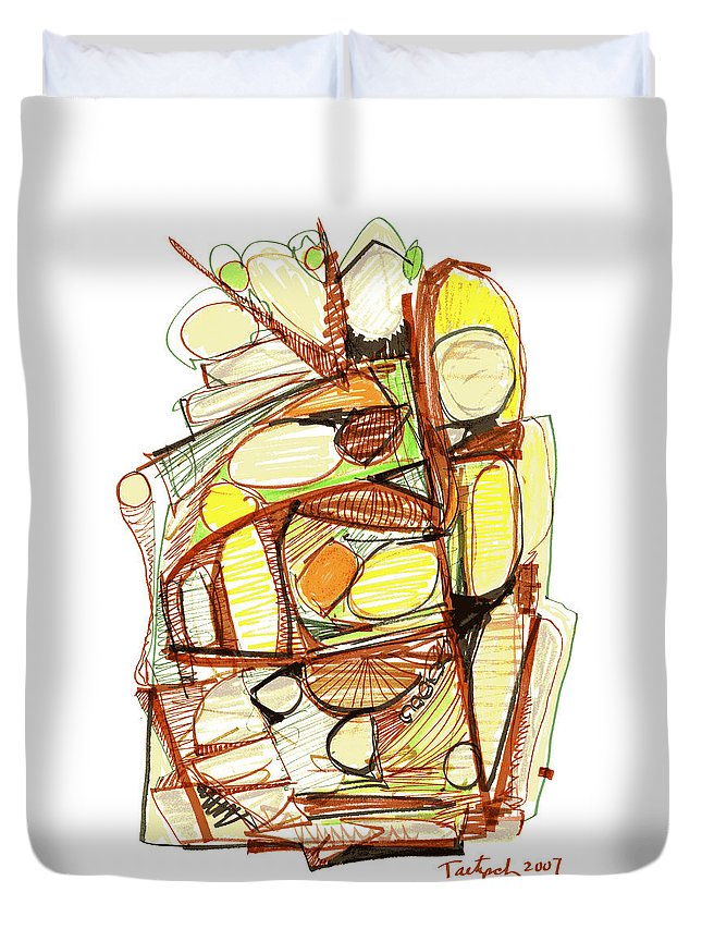 Abstract Duvet Cover featuring the drawing Abstract Pen Drawing Sixty-three by Lynne Taetzsch