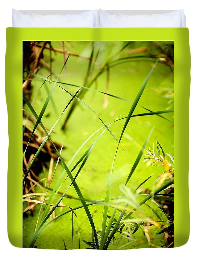 Abstract Duvet Cover featuring the photograph Abstract Pond Scum by Marilyn Hunt