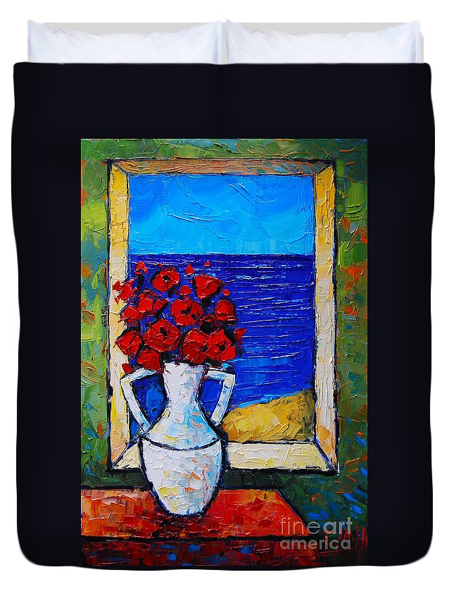 Abstract Poppies By The Sea Duvet Cover featuring the painting Abstract Poppies By The Sea by Mona Edulesco