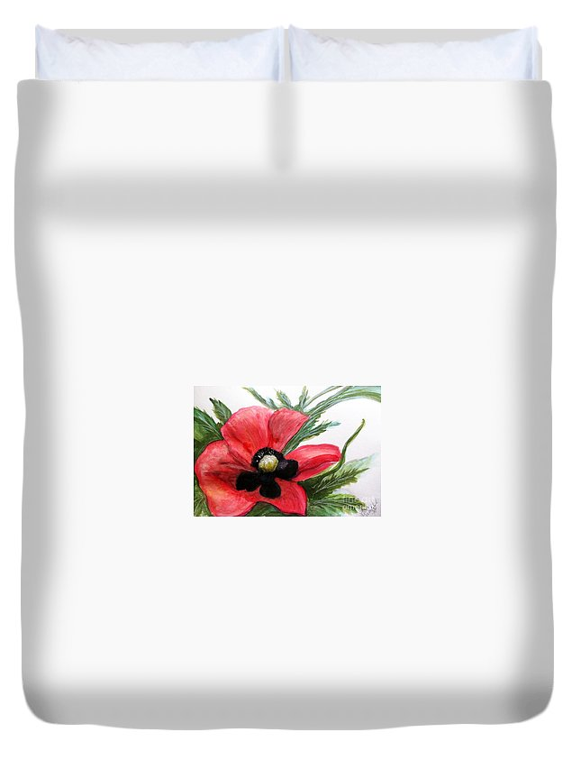 Red Poppy Duvet Cover featuring the painting Abstract Poppy by Linda Waidelich