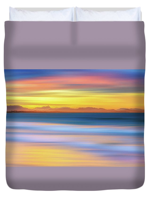 Tranquility Duvet Cover featuring the photograph Abstract Sunset by Andriislonchak