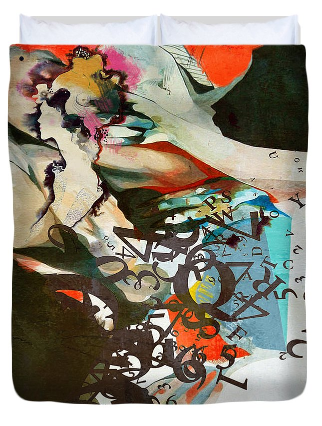 Women Duvet Cover featuring the painting Abstract Women 025 by Corporate Art Task Force