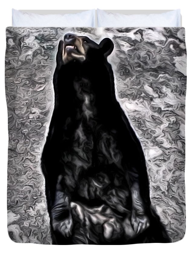 Abstracted American Black Bear With Marbled Background