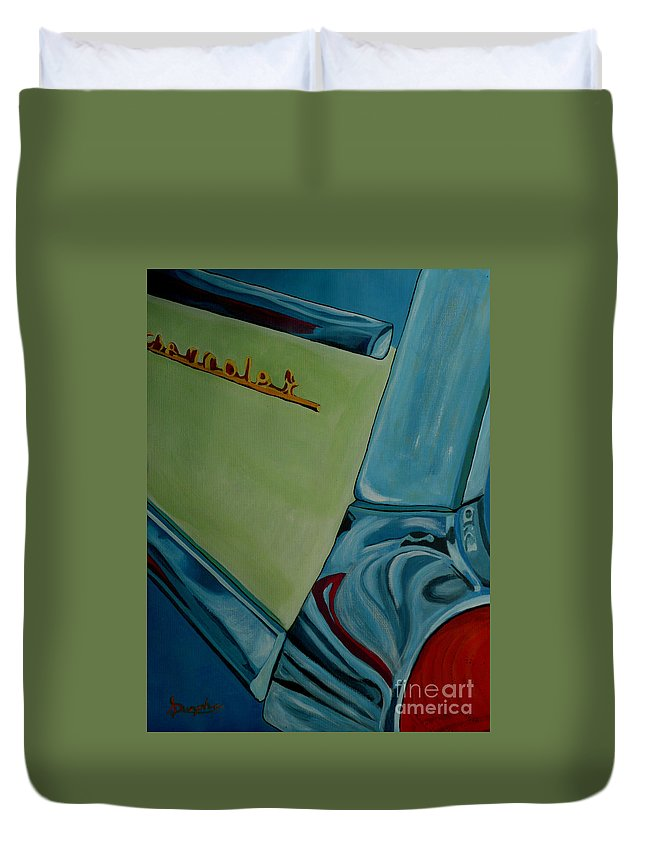 Chevy Duvet Cover featuring the painting Chevrolet by Anthony Dunphy