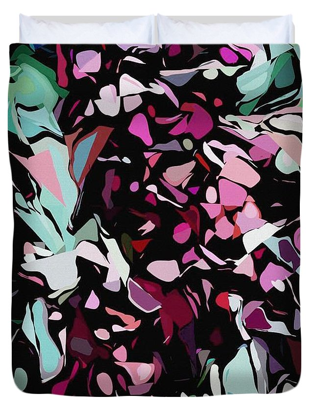 Fine Art Duvet Cover featuring the digital art Abstraction Red And Green by David Lane