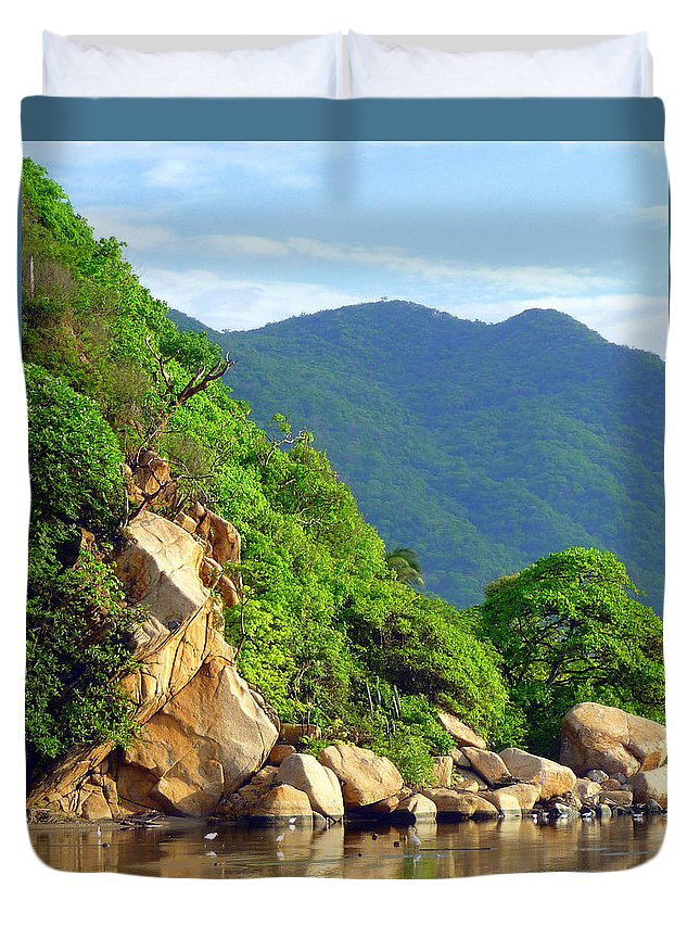 Landscape Duvet Cover featuring the photograph Acapulco Lagoon by Jim Whalen