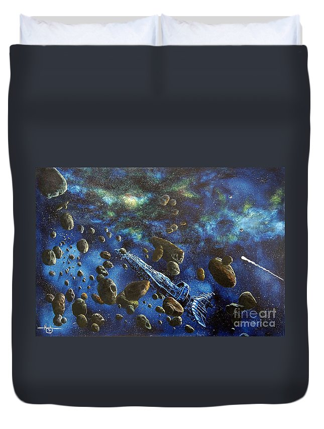 Canvas Duvet Cover featuring the painting Accidental Asteroid by Murphy Elliott