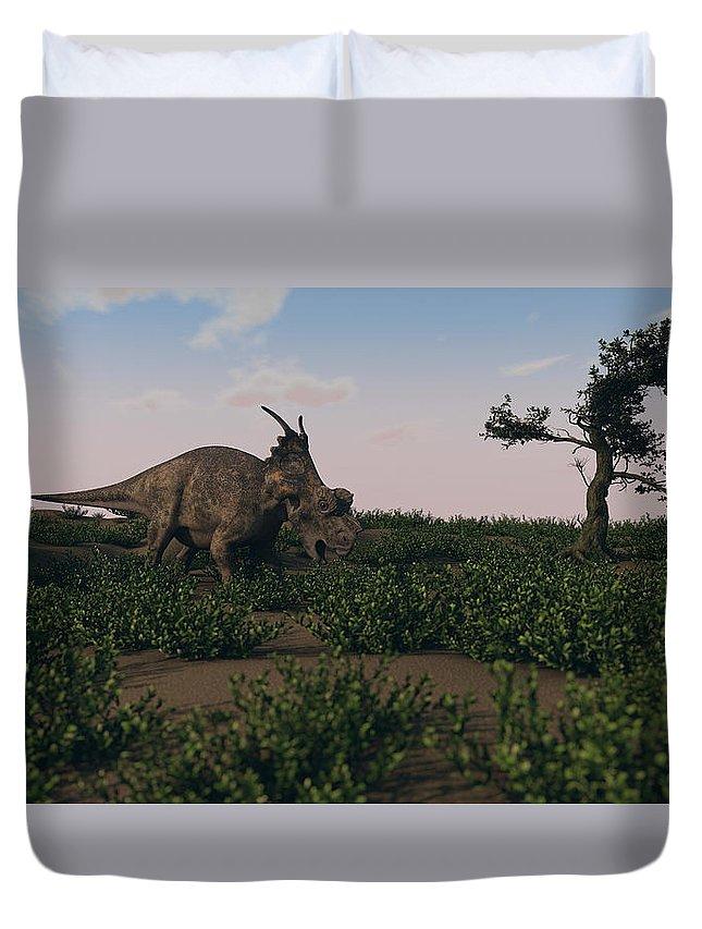 Horizontal Duvet Cover featuring the photograph Achelousaurus Walking Amongst Swamp by Kostyantyn Ivanyshen