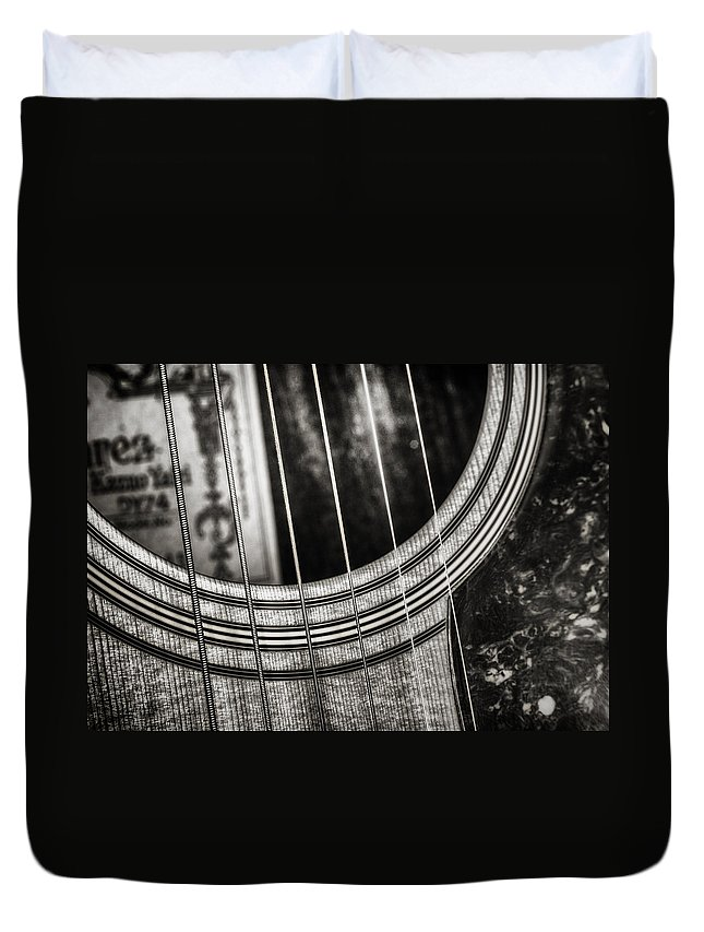 Guitar Duvet Cover featuring the photograph Acoustically Speaking by Scott Norris