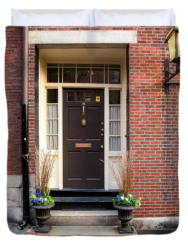 Acorn Duvet Cover featuring the photograph Acorn Street Door And Lamp by Jerry Fornarotto