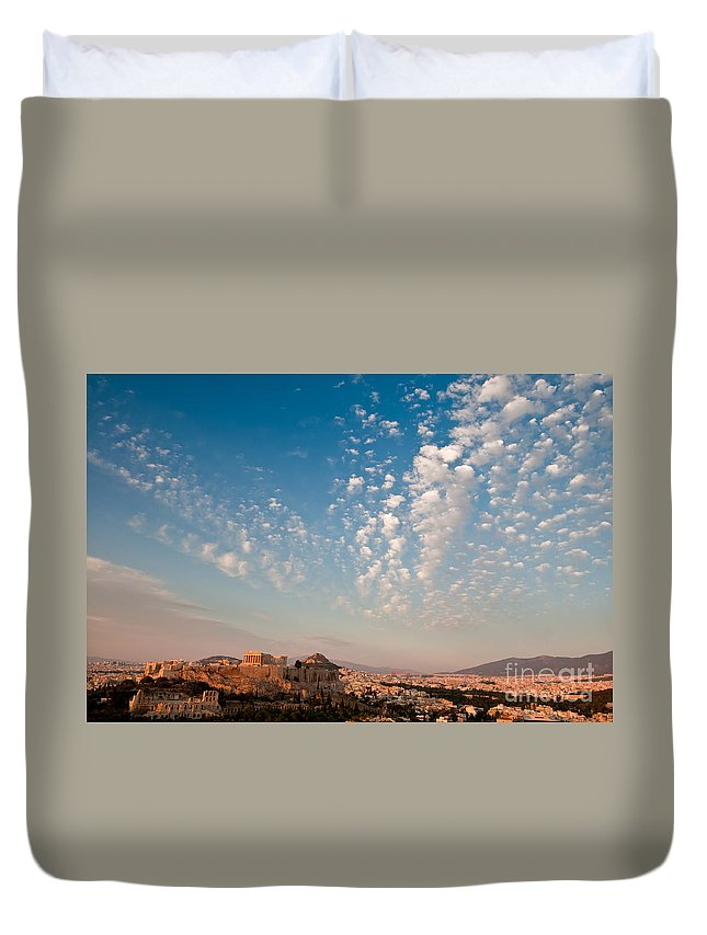 Acropolis Duvet Cover featuring the photograph Acropolis Of Athens by Kim Pin Tan