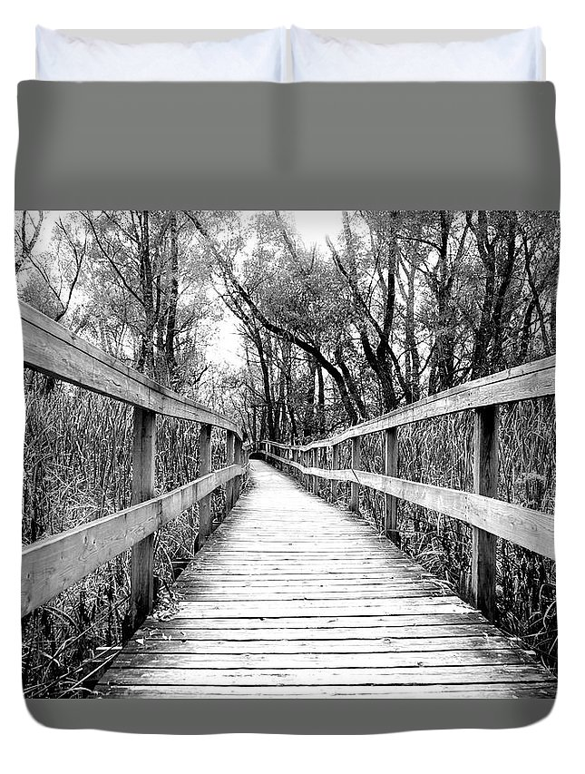 Across Duvet Cover featuring the photograph Across The Bridge by Valentino Visentini