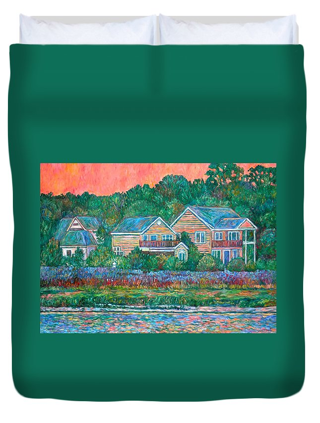 Landscape Duvet Cover featuring the painting Across The Marsh At Pawleys Island    by Kendall Kessler