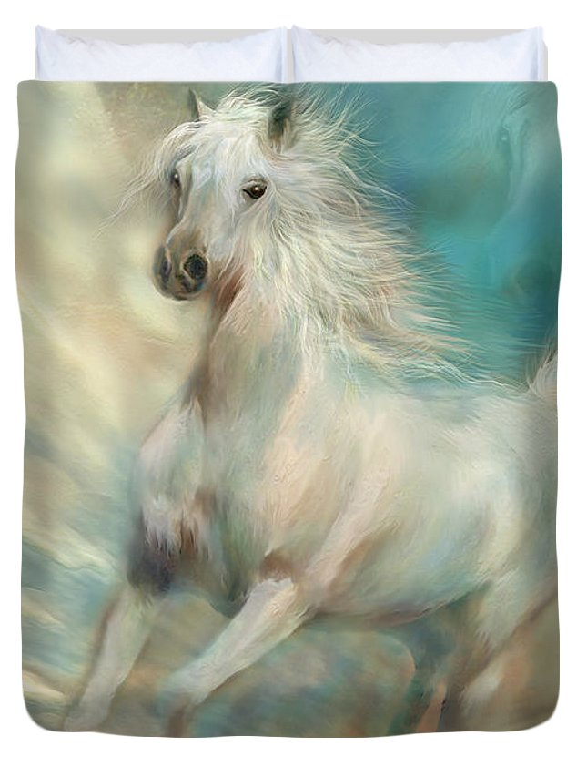 Horse Duvet Cover featuring the mixed media Across The Windswept Sky by Carol Cavalaris