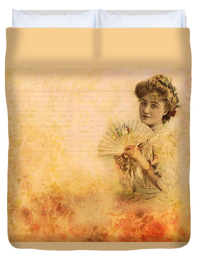 Vintage Duvet Cover featuring the photograph Actress In The Pink Vintage Collage by Peggy Collins