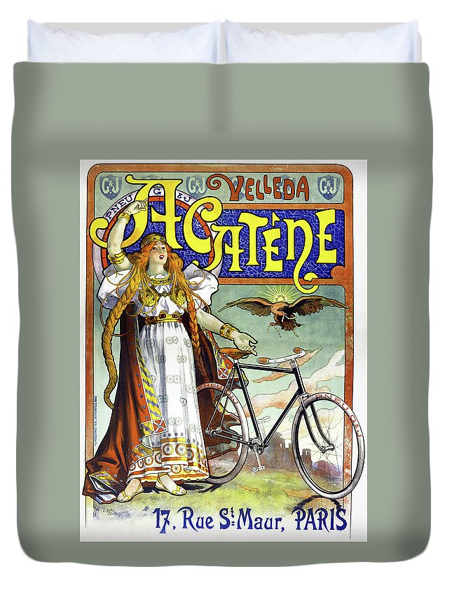 1898 Duvet Cover featuring the painting Ad Bicycles, 1898 by Granger