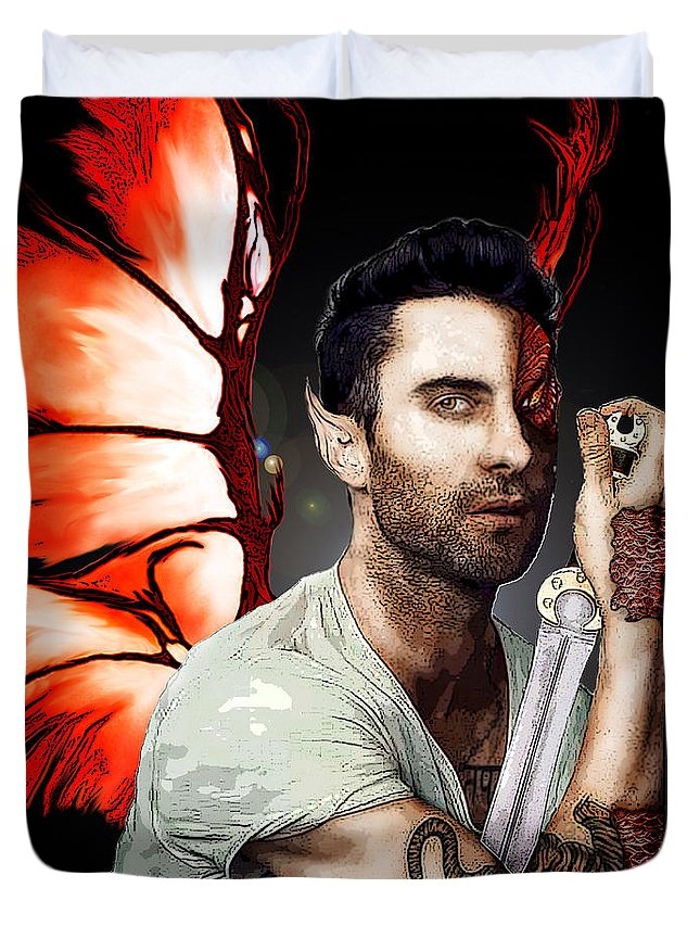 Adam Levine Duvet Cover featuring the painting Adam Dragon Warrior by Kami Catherman