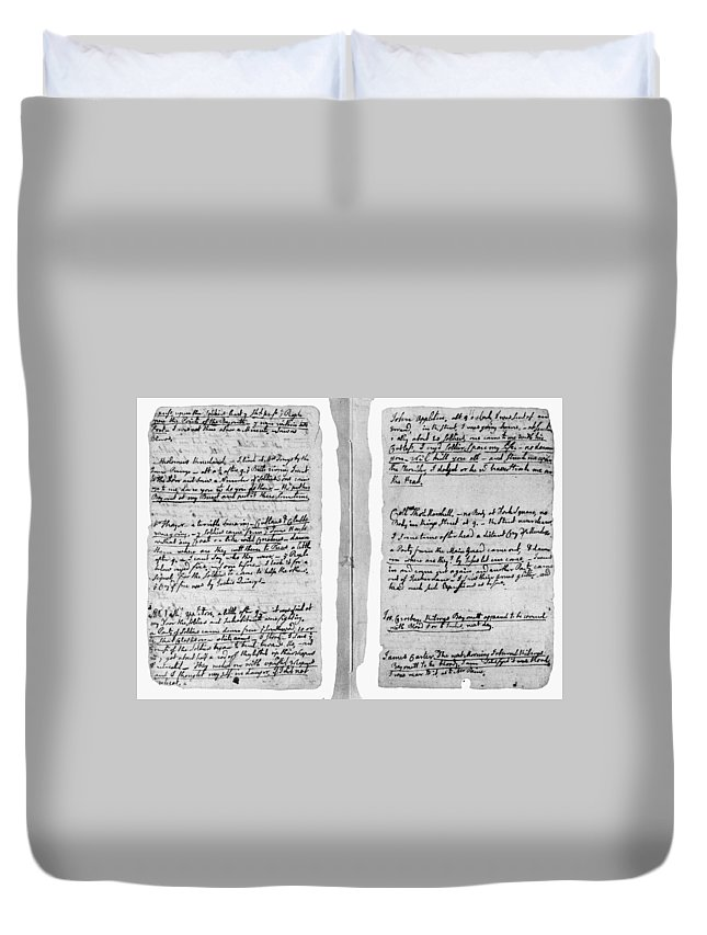 1770 Duvet Cover featuring the painting Adams Law Notes, 1770 by Granger
