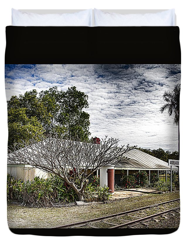 Adelaide River Railway Station Duvet Cover featuring the photograph Adelaide River Railway Station by Douglas Barnard