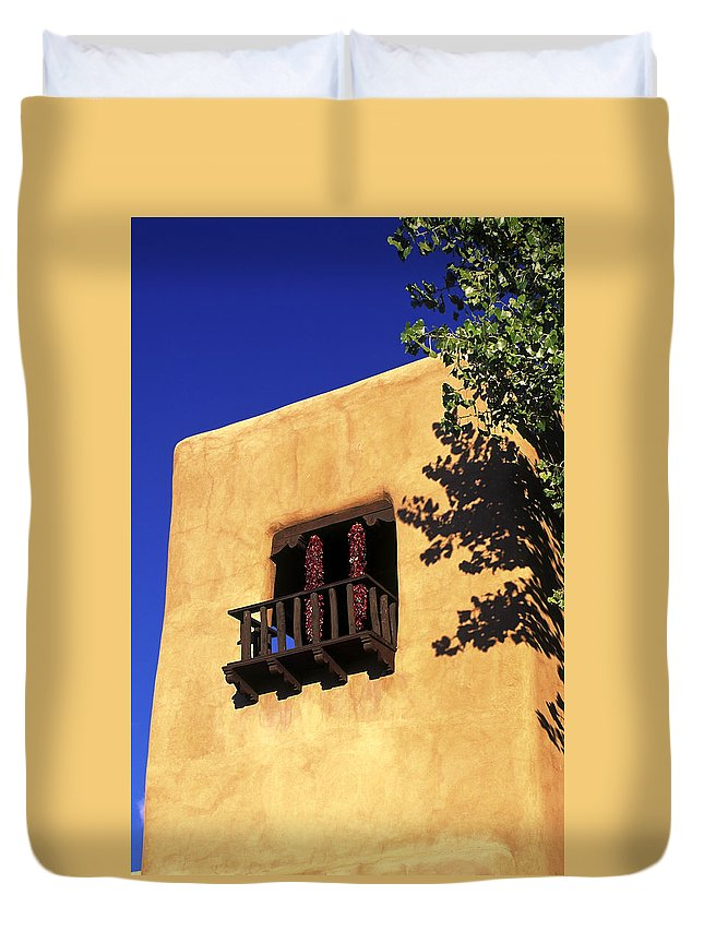 Adobe Wall Duvet Cover featuring the photograph Adobe And Ristras by Sally Weigand