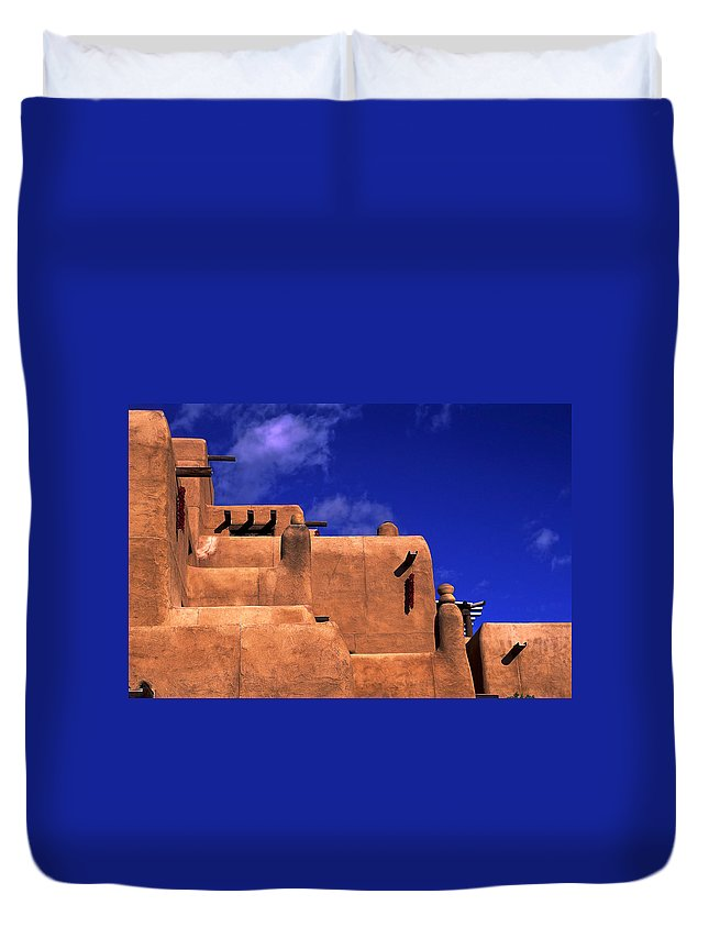 Adobe Architecture Duvet Cover featuring the photograph Adobe Architecture by Sally Weigand