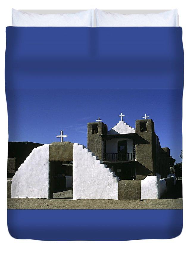 Adobe Church Duvet Cover featuring the photograph Adobe Church Taos by Sally Weigand