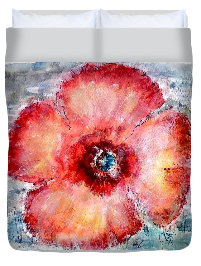 Watercolor; Poppy Duvet Cover featuring the painting Adobe Poppy by Cj Carroll