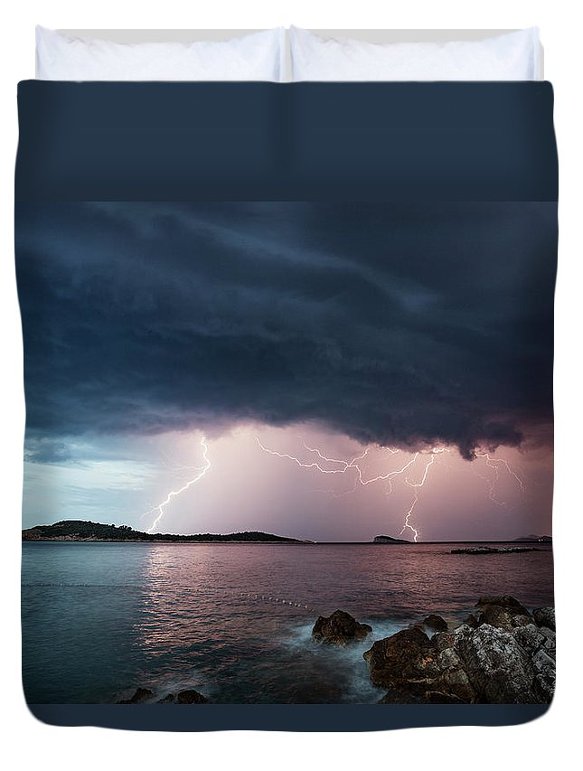 Adriatic Sea Duvet Cover featuring the photograph Adriatic Lightning by Image By Chris Winsor