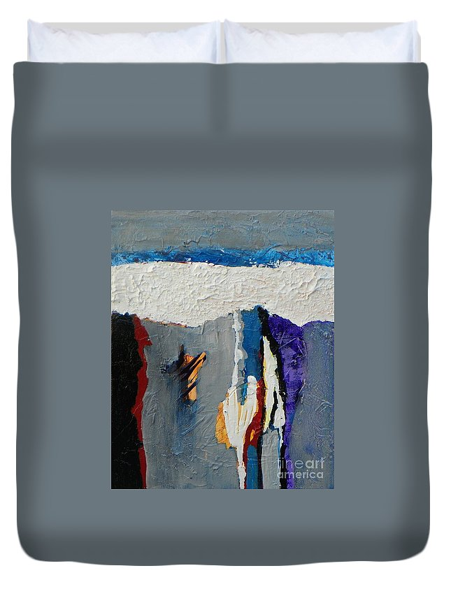 Abstract Expressionism Duvet Cover featuring the painting Adrift by Donna Frost