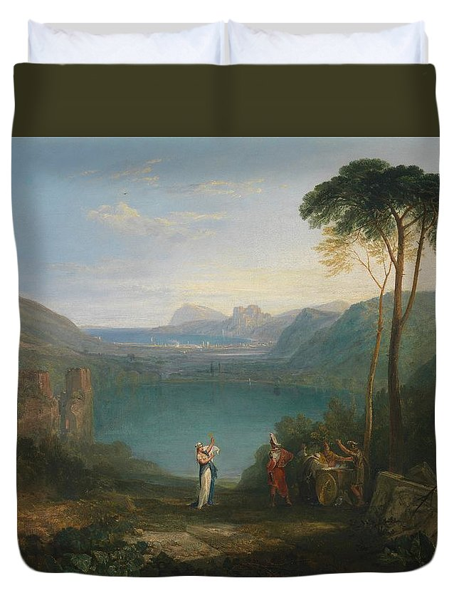 1814 Duvet Cover featuring the painting Aeneas And The Cumaean Sybil by JMW Turner