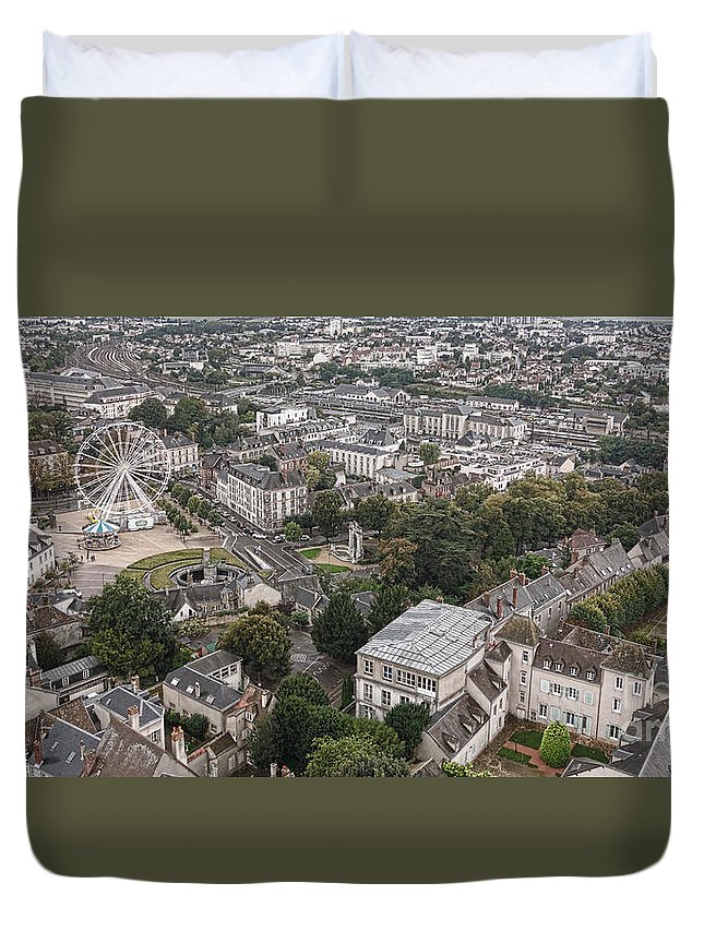 France Duvet Cover featuring the photograph Aerial Chartres by Olivier Le Queinec