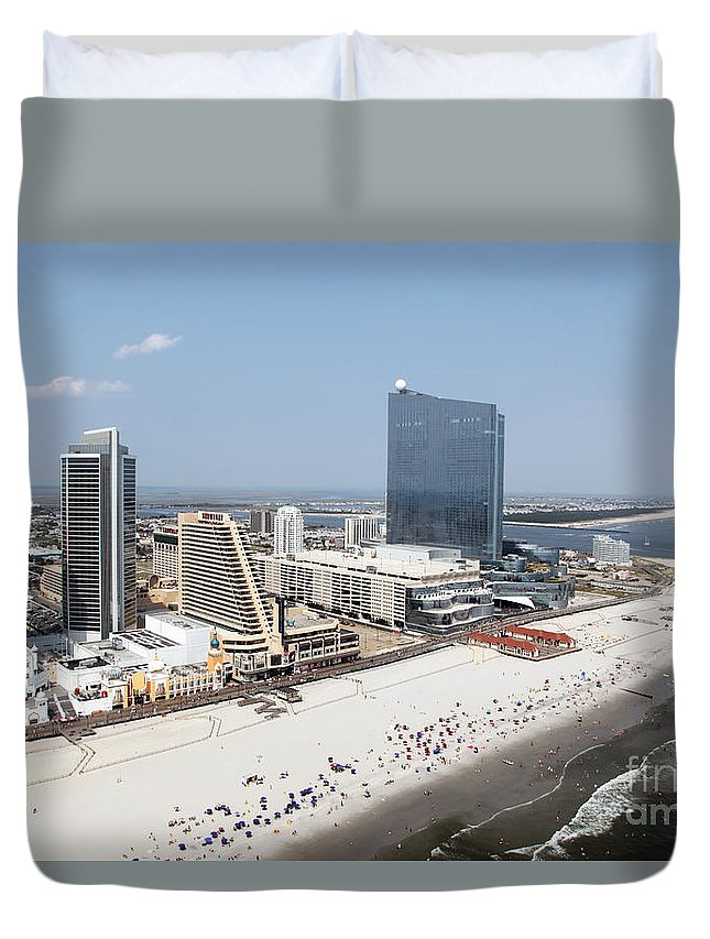 Aerial Duvet Cover featuring the photograph Aerial Of Downtown Atlantic City by Bill Cobb