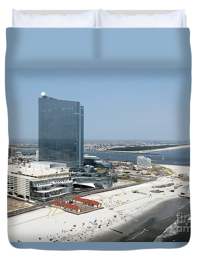 Aerial Duvet Cover featuring the photograph Aerial Of Revel On The Oceanfront by Bill Cobb