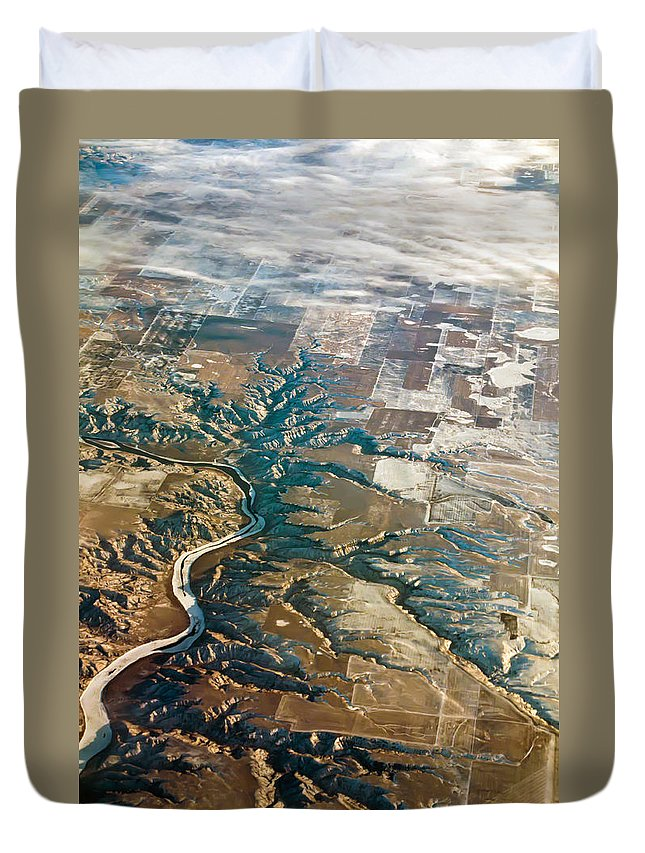 View Duvet Cover featuring the photograph Aerial Of Rocky Mountains Over Montana State by Alex Grichenko