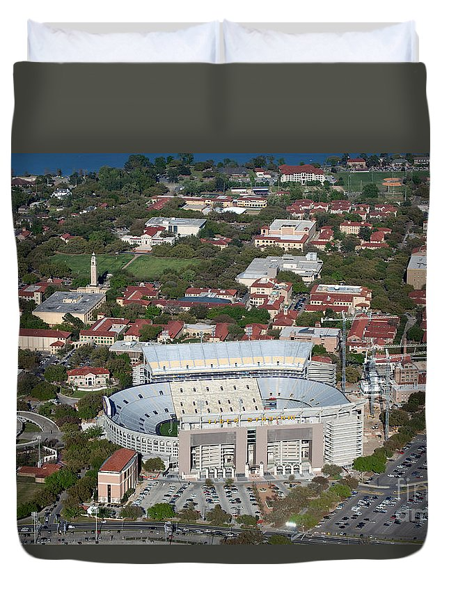 National Collegiate Athletic Association Duvet Cover featuring the photograph Aerial Of Tiger Stadium by Bill Cobb
