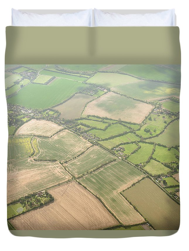 Scenics Duvet Cover featuring the photograph Aerial View Of Cultivated Land In London by Franckreporter