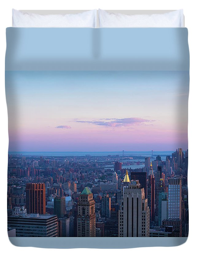 Tranquility Duvet Cover featuring the photograph Aerial View Of Empire State And Midtown by Future Light