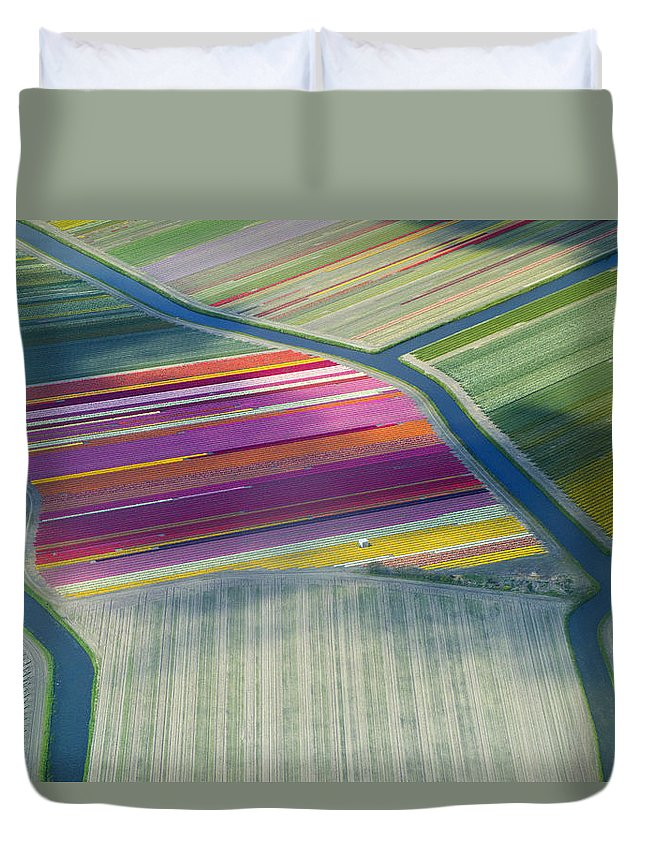Curve Duvet Cover featuring the photograph Aerial View Of Flower Fields In Spring by Frans Sellies