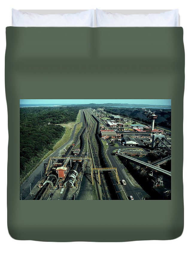 Freight Transportation Duvet Cover featuring the photograph Aerial View Of Large Coal Export by Beyondimages
