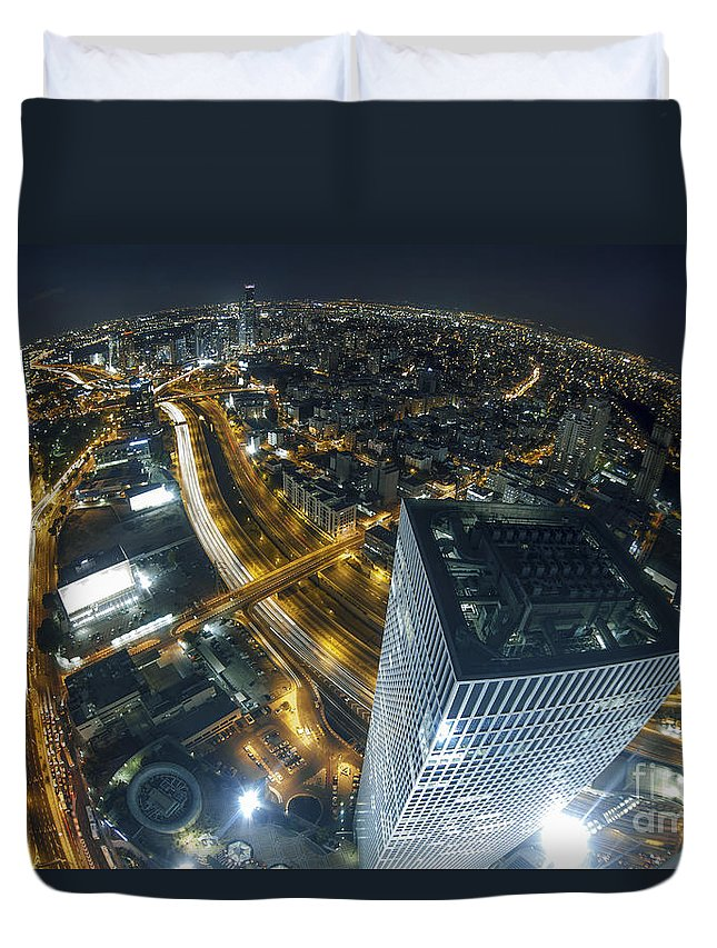 Aerial View Duvet Cover featuring the photograph Aerial View Of Tel Aviv by Nir Ben-Yosef