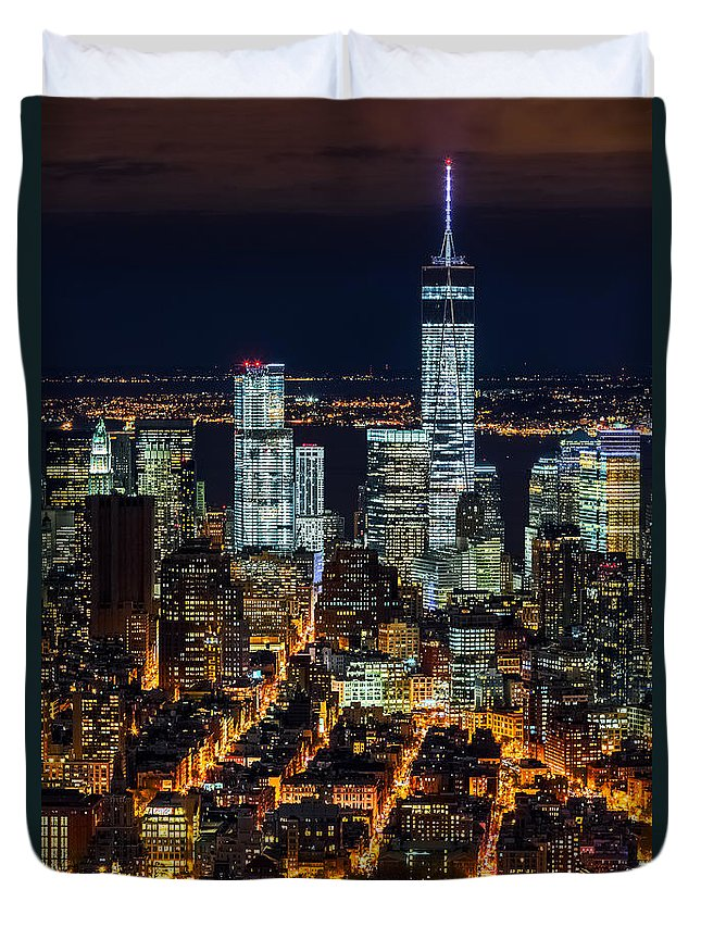 Downtown Duvet Cover featuring the photograph Aerial View Of The Lower Manhattan Skyscrapers By Night by Mihai Andritoiu