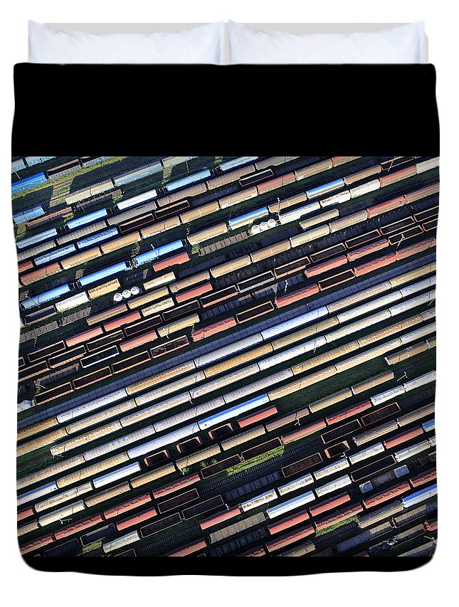 Freight Transportation Duvet Cover featuring the photograph Aerial View Of The Railway Station by Dariuszpa