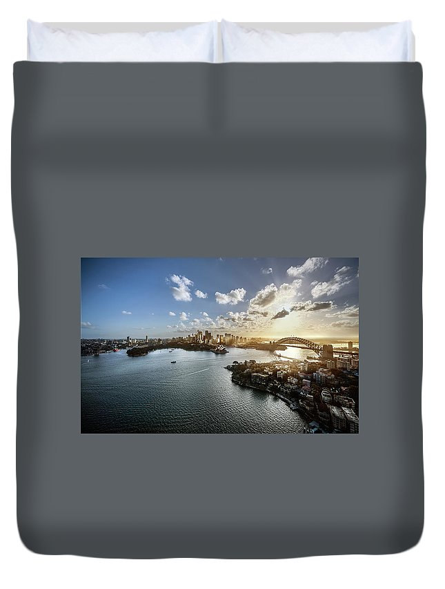 Sydney Harbor Bridge Duvet Cover featuring the photograph Aeriall View Of Sydney Harbour At Sunset by Howard Kingsnorth