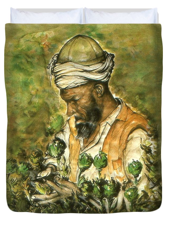 Afghanistan Duvet Cover featuring the painting Afghani Harvest - Watercolor by Peter Potter